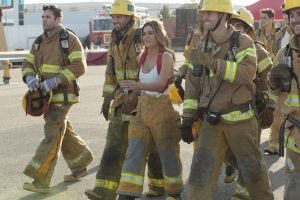 """THE BACHELORETTE - """"Episode 1202"""" - Twenty anxious men look to get their love story with JoJo off to a good start. The the first group date give ten lucky bachelors a chance to see sparks fly when they head for a firefighting training facility, where one of the guys might need saving himself. JoJo and Derek get to pick their own adventure, and they choose a romantic picnic by the Golden Gate Bridge in San Francisco. Six bachelors get a dream date to ESPN's popular """"SportsNation"""" with hosts Max Kellerman and Marcellus Wiley. They are sure they will be able to help JoJo find a perfect match, but Chad seems determined to """"shock and awe"""" all the way up to the rose ceremony, on """"The Bachelorette,"""" MONDAY, MAY 30 (8:00-10:01 p.m. EDT), on the ABC Television Network. (ABC/Rick Rowell) JAMES F., ROBBY, JOJO FLETCHER, LUKE"""